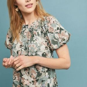 Anthro Maeve Floral Sage Green balloon sleeve Top